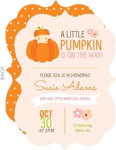 Little Baby Pumpkin Baby Shower Invitation