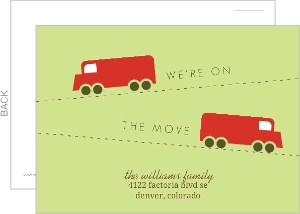 green and red truck postcard moving announcement With inexpensive moving announcements