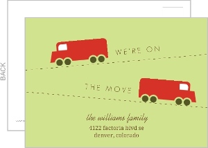Green and Red Truck Postcard Moving Announcement