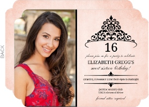 Antique Pink and Black Tiara Birthday Invitation