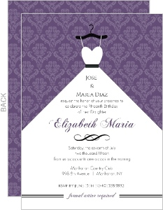 Purple Damask and White Dress Quinceanera Invitation