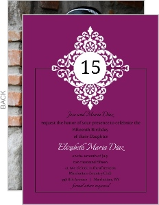 Elegant Deep Purple Quinceanera Invitation