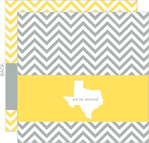 Modern White Gray Chevron State Moving Announcement
