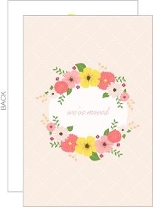 Flower Wreath Pink Moving Announcement