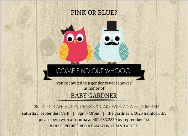 woodgrain gender reveal owl baby shower invitation invite shop