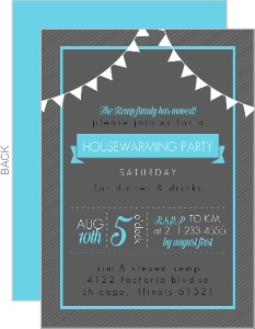 Bright Blue and Dark Gray Housewarming Party Invitation