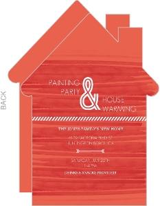 Orange Red Watercolor Housewarming Party Invitation
