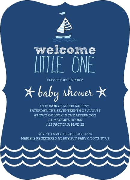 nautical navy blue white waves baby shower invitation - invite shop, Baby shower invitations