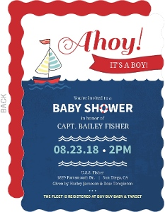 Red and Navy Sailboat Baby Shower Invitation