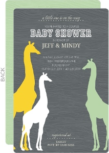 Gray Wood Multicolor Giraffes Baby Shower Invitation
