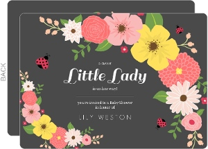 Charcoal Floral Ladybug Baby Shower Invitation
