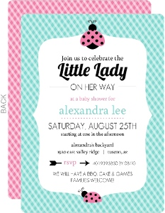 teal gingham and pink ladybug baby shower invitation