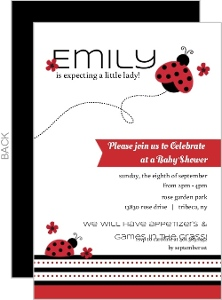 Black and Red Flowers Ladybug Invitation