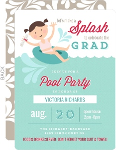 Modern Splashing Around Pool Party Graduation Invitation