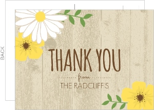 Pale Tan Woodgrain Flower Housewarming Thank You Card