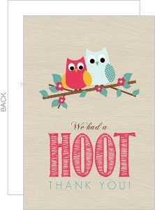 Woodgrain Owl Couple Housewarming Thank You Card