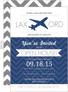 Navy and White Jet Plane Modern Farewell Open House Invite