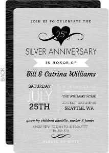 Gray Woodgrain and Black Heart Anniversary Invitation