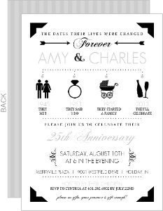 Gray and Black Icon Anniversary Invitation