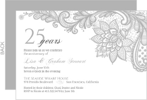 Intricate Gray Lace Anniversary Invitation