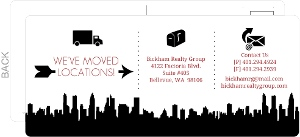 Black Contact Icons Postcard Business Moving Announcement