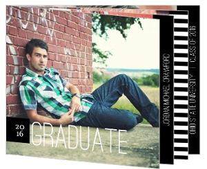 Black & White Stripe Graduation Announcement