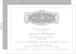 Elegant Gray Monogram Anniversary Invitation