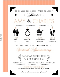 Peach and Black Icon Anniversary Invitation