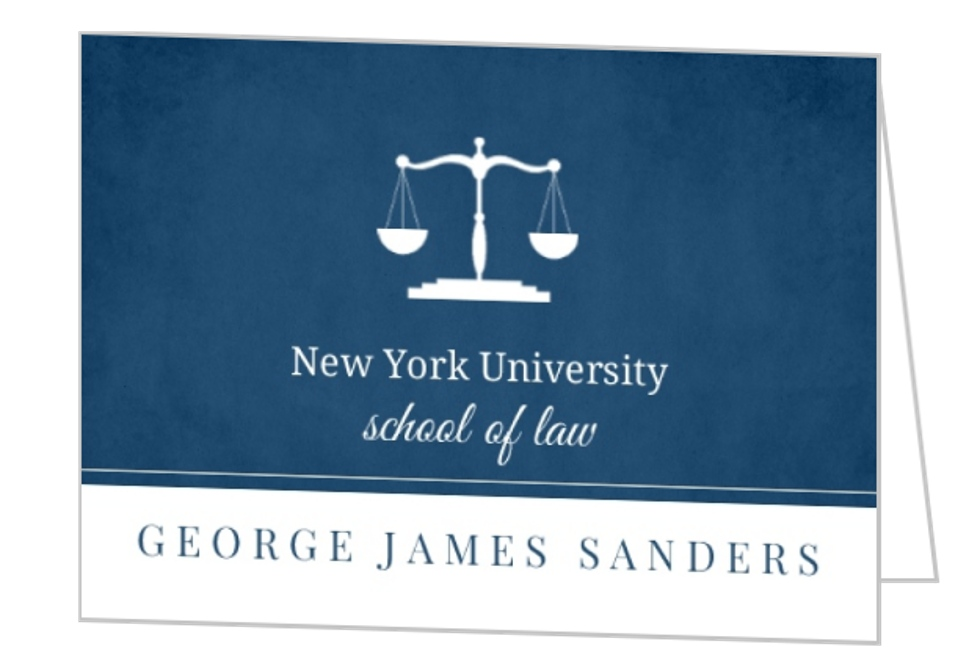 Law School Navy Blue Graduation Invitation