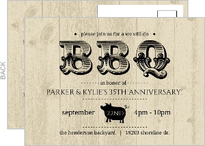 Black Woodgrain BBQ Anniversary Invitation