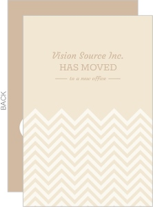 Cream and White Chevron Simple Business Moving Announcement