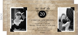 Traditional Black and Tan Photo Anniversary Invitation