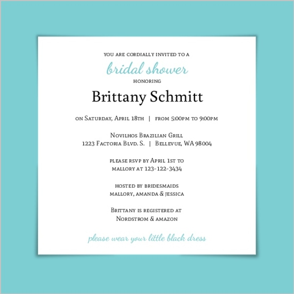 Simple and classic bridal shower invitation card bridal for Classic bridal shower invitations