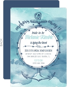 Blue Watercolor Anchor Bridal Shower Invitation