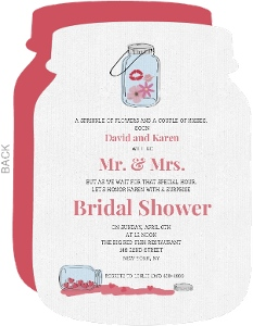Cute Pink Rustic Jar Bridal Shower Invitation Card