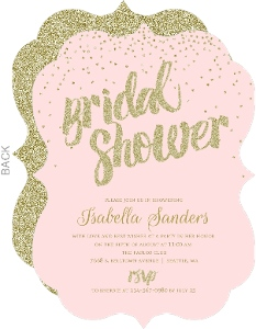 Blush & Faux Gold Glitter Bridal Shower Invitation