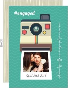 Polaroid Camera Engagement Announcement Card