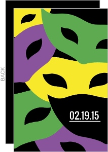 Bold Colorful Masks Mardi Gras Party Invitation