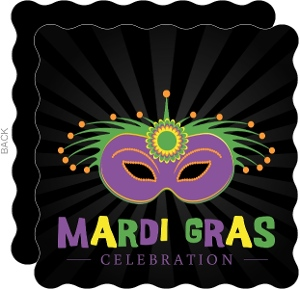 Decorative Vibrant Mask Mardi Gras Party Invitation
