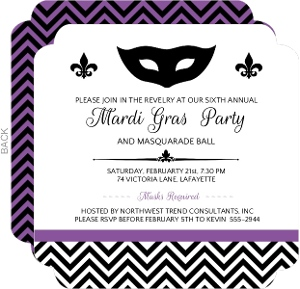 Simple Elegant Fleur De Lis Mardi Gras Party Invitation