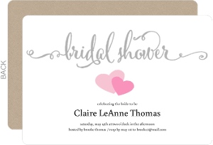 Simple Hearts Bridal Shower Invitation