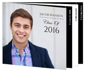 Formal Black & White Graduation Booklet Invitation