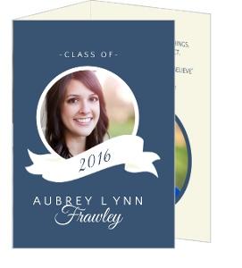 Classic Blue & White Banner Graduation Announcement Card