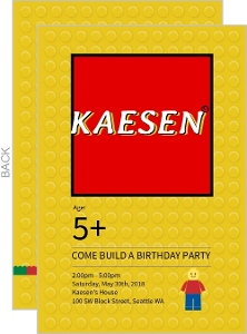 Custom Lego Build a Birthday Party Invitation