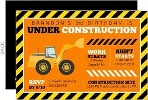 Fun Construction Truck Birthday Party Invitation