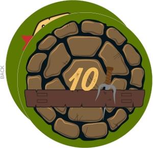 Round Ninja Turtle Shell Birthday Party Invitation