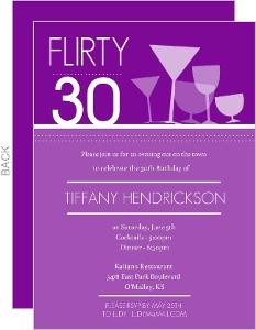 Purple Happy Hour Drinks Birthday invitation