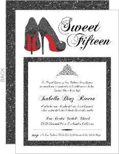 Elegant Faux Black Glitter Fifteenth Birthday Invitation