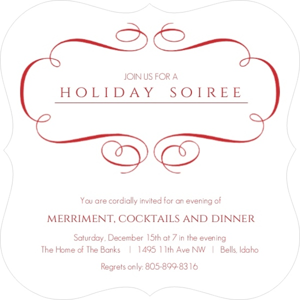 Elegant Red Frame Holiday Party Invitation Invite Shop – Elegant Holiday Party Invitations