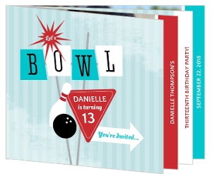 Red, Teal & White Retro Bowling Party Booklet Invitation